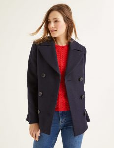 Navy peacoat from Boden USA is a timeless top layer