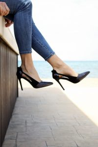 Black high heels with jeans