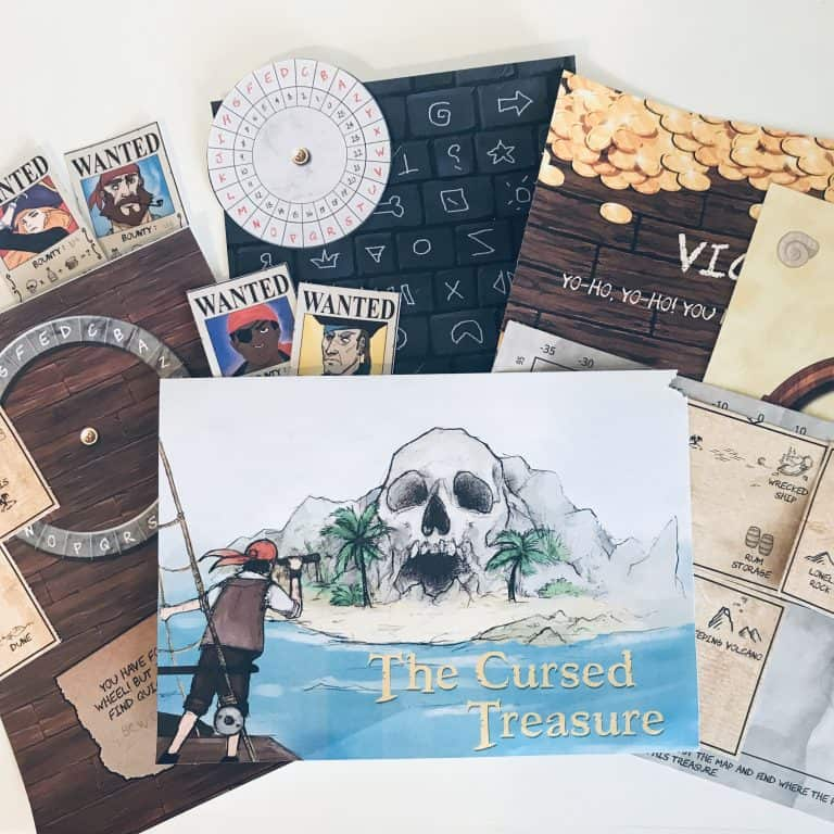 Our favorite escape game kit was The Cursed Treasure