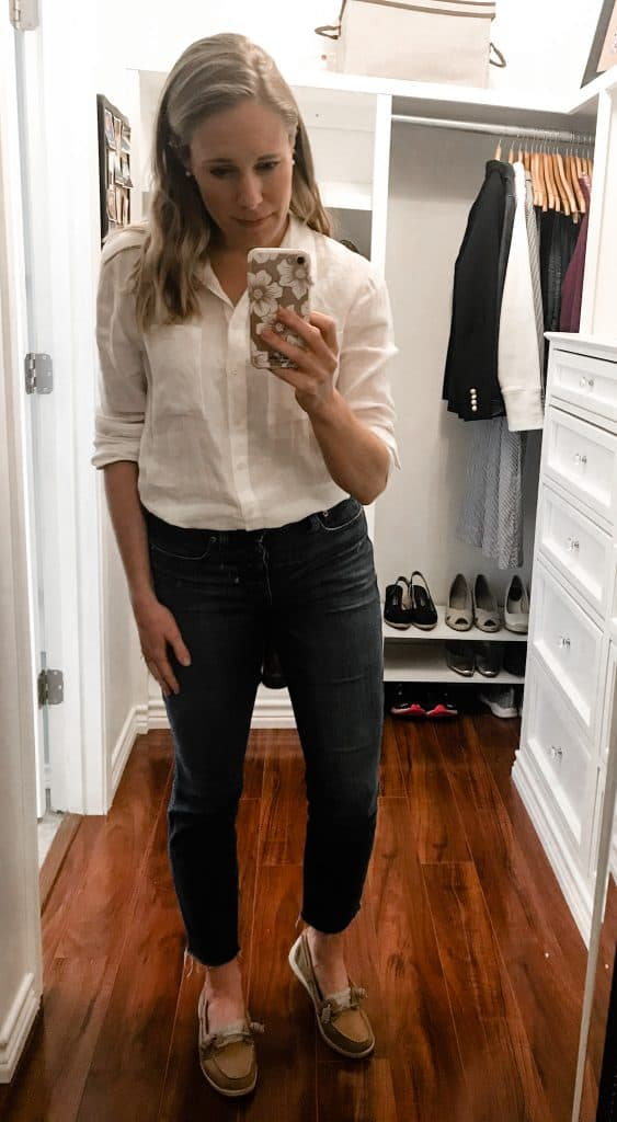 A simple linen button up is an easy way to look put together