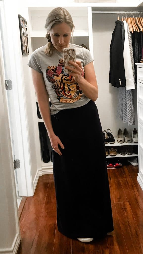 A simple maxi skirt is super versatile and comfortable!