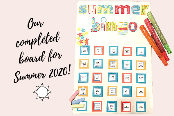 Our finished summer bingo board!