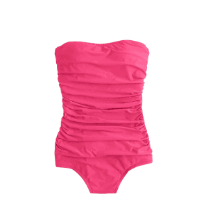 this timeless bandeau swimsuit is a great choice for moms