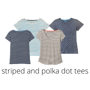 striped and polka dot tees are great for a summer capsule wardrobe