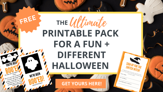 this printable Halloween pack has a switch witch sign up form and a friendly neighborhood boo kit