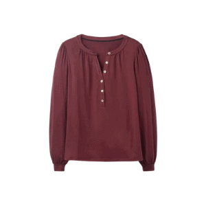 this maroon henley has gold buttons that are perfect for a capsule wardrobe for fall