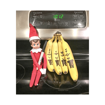easy last minute elf on the shelf idea bananas