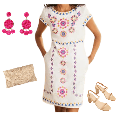 embroidered linen spring dress