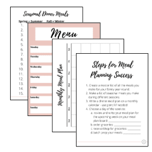 menu planning printable pack