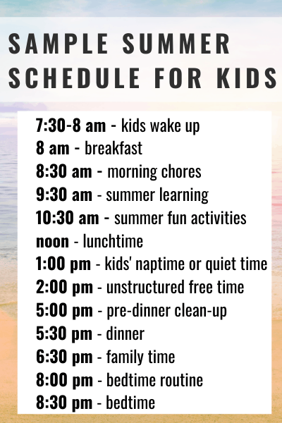 sample summer schedule for kids