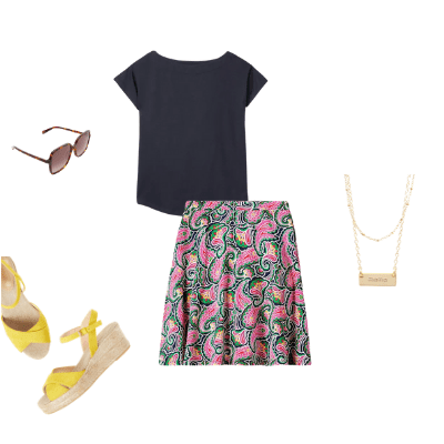 summer patterned skirt outfit 9