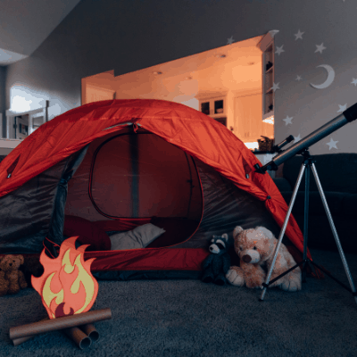 indoor campout boredom buster idea for kids