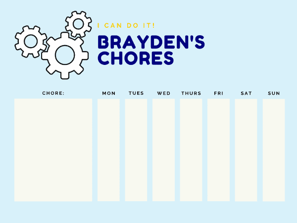 weekly printable chore chart for boys