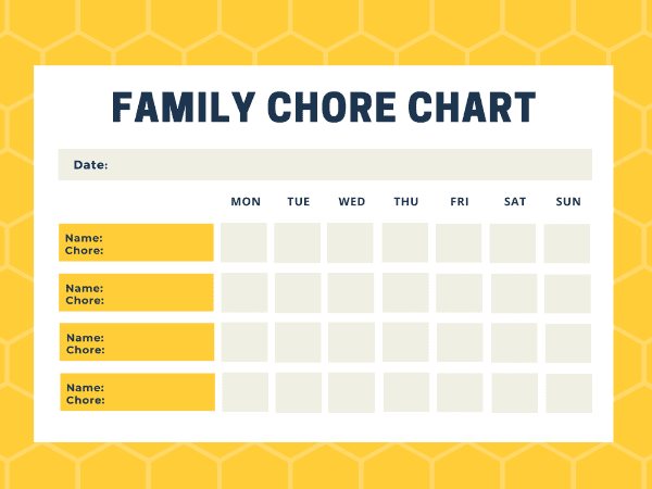 printable chore chart for families