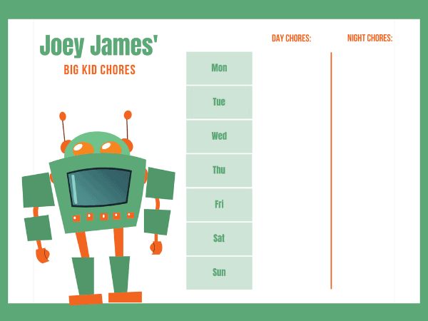 chore chart for younger kids